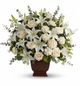 lilies roses carnations all white